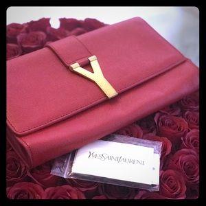 YSL red clutch purse